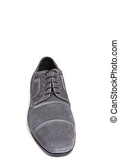 gray suede men shoe isolated on white