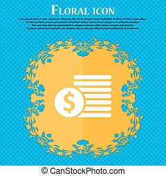 Buyer Menu icon. Floral flat design on a blue abstract background with place for your text. Vector