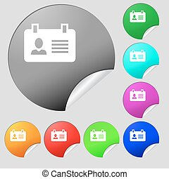 Identification card icon sign. Set of eight multi colored round buttons, stickers. Vector