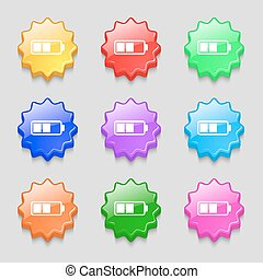 Battery half icon sign. symbol on nine wavy colourful buttons. Vector