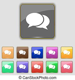 Speech bubbles icon sign. Set with eleven colored buttons for your site. Vector