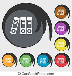 binders icon Symbols on eight colored buttons Vector...