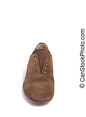 brown suede men shoe isolated on white