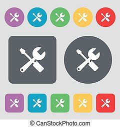 wrench and screwdriver icon sign A set of 12 colored buttons...
