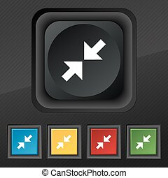 Exit full screen icon symbol. Set of five colorful, stylish buttons on black texture for your design. Vector