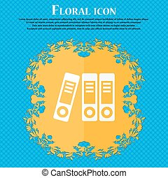 binders icon Floral flat design on a blue abstract...