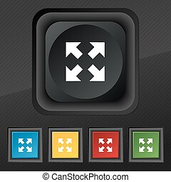 Full screen icon symbol. Set of five colorful, stylish buttons on black texture for your design. Vector