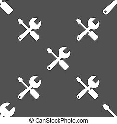 wrench and screwdriver icon sign Seamless pattern on a gray...