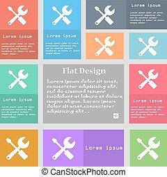 wrench and screwdriver icon sign Set of multicolored buttons...