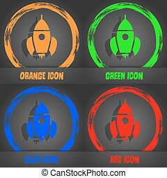 Rocket icon. Fashionable modern style. In the orange, green, blue, red design. Vector
