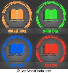 Book icon. Fashionable modern style. In the orange, green, blue, red design. Vector