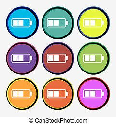 Battery half icon sign. Nine multi colored round buttons. Vector