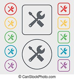 wrench and screwdriver icon sign symbol on the Round and...