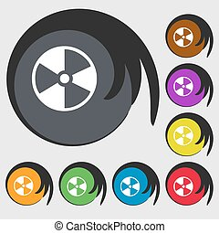 radioactive icon. Symbols on eight colored buttons. Vector