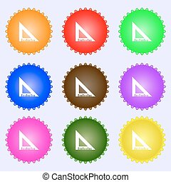 ruler icon sign. A set of nine different colored labels. Vector