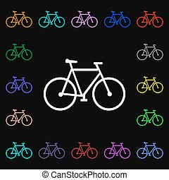 bicycle icon sign. Lots of colorful symbols for your design. Vector