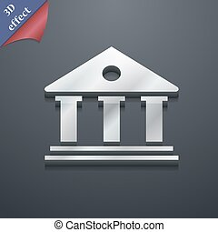 bank icon symbol. 3D style. Trendy, modern design with space for your text Vector