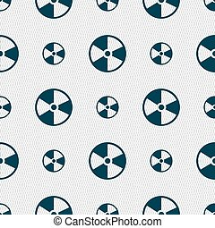 radioactive icon sign. Seamless pattern with geometric texture. Vector