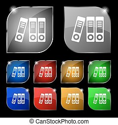 binders icon sign Set of ten colorful buttons with glare...