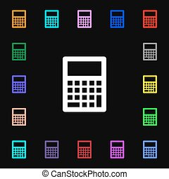 Calculator icon sign. Lots of colorful symbols for your design. Vector