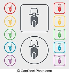 Scooter icon sign. symbol on the Round and square buttons with frame. Vector