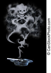 Poisonous Cigarette Smoke - A lit cigarette resting in an...