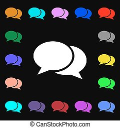 Speech bubbles icon sign. Lots of colorful symbols for your design. Vector