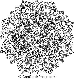 Round element for coloring book. Black and white floral...