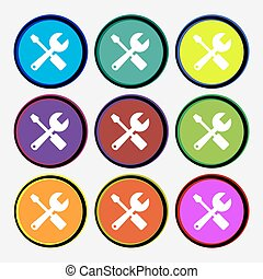 wrench and screwdriver icon sign Nine multi colored round...