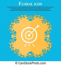Target icon. Floral flat design on a blue abstract...