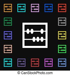 Abacus icon sign. Lots of colorful symbols for your design. Vector