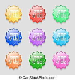 binders icon sign symbol on nine wavy colourful buttons...