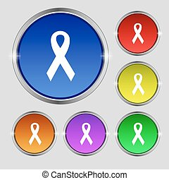 ribbon, breast cancer awareness month icon sign Round symbol...