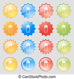 battery icon sign. Big set of 16 colorful modern buttons for your design. Vector