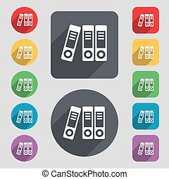binders icon sign A set of 12 colored buttons and a long...