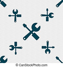 wrench and screwdriver icon sign Seamless pattern with...