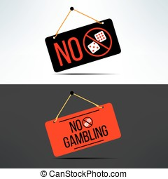 Vector no gambling dangling board with dice. Gaming forbidden sign