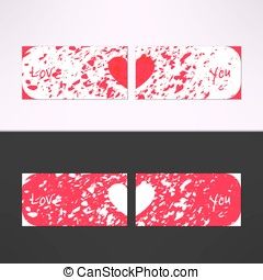 Vector valentines card with debris grunge background and...