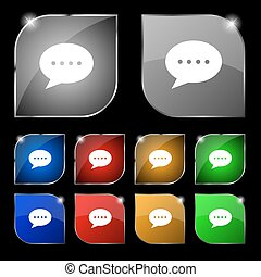 Speech bubbles icon sign. Set of ten colorful buttons with glare. Vector