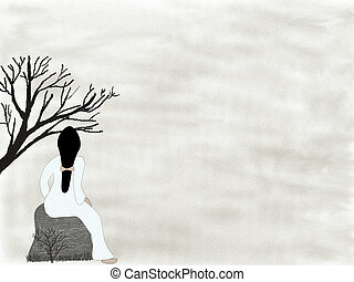 Lonely lady - Oriental style drawing of a solitary woman...
