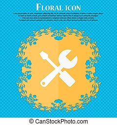 wrench and screwdriver icon Floral flat design on a blue...