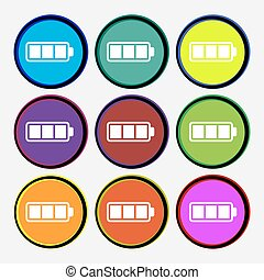 Battery fully charged icon sign. Nine multi colored round buttons. Vector