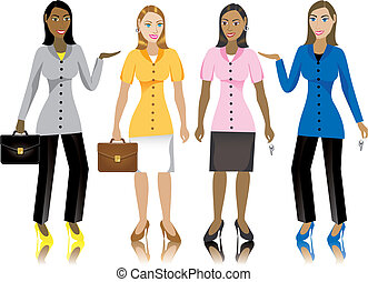 Business Women - Career business women in suits. Vector...