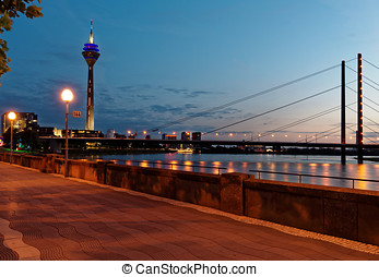 Rhine river in Dusseldorf, Germany - Night view to Rhine...