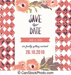 Tropic save the date card with flowers. Can be used for personal projects, invitations.