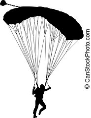 Skydiver, silhouettes parachuting vector illustration - The...