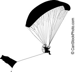 Paragliding , silhouette vector illustration - The...