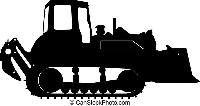 Silhouette of a heavy loaders with ladle. Vector...