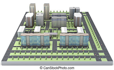 3D model of a residential area