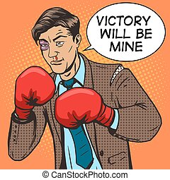 Businessman fights in boxing gloves pop art vector -...